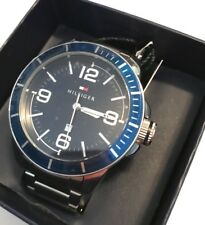 NWT Tommy Hilfiger 1791443 Men's 46mm Quartz Blue Dial Stainless Steel Watch