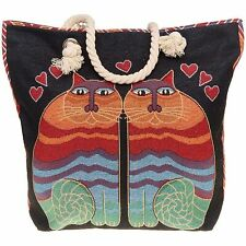 Equilibrium Tapestry Cats Tote Bag Canvas Shopping Rope Handles Zip Ladies Gift