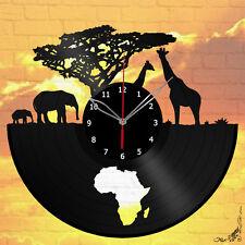Africa Elephant Giraffe Animals Vinyl Record Wall Clock Decor 12'' 30 cm A138