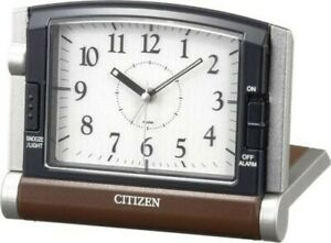 Citizen Alarm Table Clock Analog Abroad963 Traveling Brown 4Ge963-006