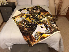 Owl Owls Sherpa Blanket Throw Very Thick Very Soft NEW 50 x 60 inches