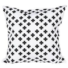 Kissenhülle Kissenbezug Kissen 45 x 45 001 weiß schwarz Baumwolle Landhaus Retro