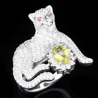 NATURAL 7X5MM PERIDOT & WHITE CZ TIGER DESIGN STERLING SILVER 925 RING SIZE 7