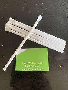 200 Spoon Straws 8in -100% BIO-DEGRADABLE Slush Smoothies Milk Shakes Cream