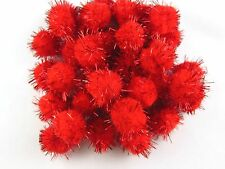 "36pcs 1"" Glitter PomPom Sparkle Balls Cat Kitten Pubby Toys High Quality Red"