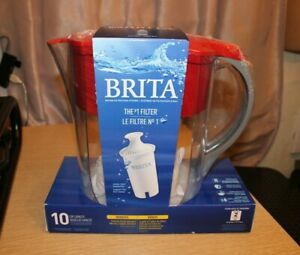 BRITA Water Filtration Pitcher Red 10 Cup Capacity 1 Pitcher 1 Filter Inc. READ