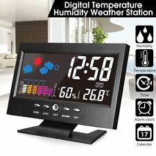 Digital Weather Temperature LED Projector Color Display Snooze Alarm Clock