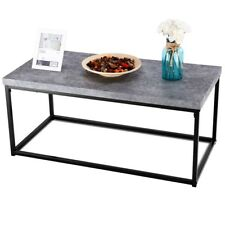 Home Rectangular Cocktail Coffee Table Metal Frame Room Furniture White/Grey US