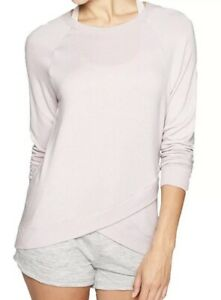 ATHLETA Criss Cross Faux Wrap Sweatshirt Lilac Pink XS X-Small