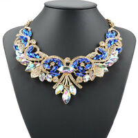 Charm Crystal Jewelry Pendant Chain Choker Chunky Statement Bib Collar Necklace