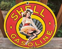 Vintage Shell Gasoline Pin Up Girl Heavy Porcelain Pump Plate Sign 12""