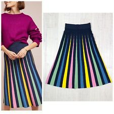 Anthropologie Maeve Rainbow Pleated Contrast Skirt Woman Size XS New $200