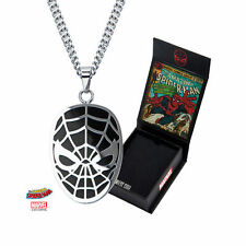Inox Stainless Steel Marvel Pendant Chain Necklace Spider-Man Black #Spmnnk01Kb