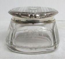 SUPERB VINTAGE STERLING SILVER LID BLACKINTON & CO SMALL CREAM CRYSTAL JAR