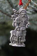 Hastings Pewter Lead Free Pewter Santa Claus with a Deer Christmas Ornament  NEW