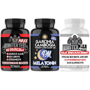 Monster Test Maxx Tetosterone Booster + GarciniaPm Sleep Aid + Monster Minute
