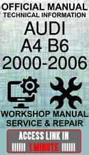 #ACCESS LINK OFFICIAL WORKSHOP MANUAL SERVICE & REPAIR AUDI A4 B6 2000-2006