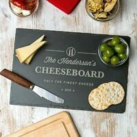 Personalised Engraved Slate Cheese Board Wood Chopping Board House Warming Gift
