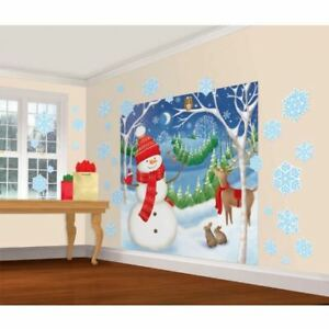 Christmas Cheerful Winter Snowman Cutouts Scene Setter Wall Decorating Kit