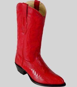 LOS ALTOS MEN RED GENUINE OSTRICH LEG WESTERN COWBOY BOOT J-TOE (EE) 990512