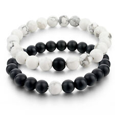2pcs Distance Bracelets For Lovers Black Matte Agate & White Howlite 8mm Beads