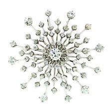Vintage Platinum 5.60ctw Large Round Diamond Burst Snowflake Brooch Pin Pendant