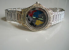 Men's hip hop floating stones Bling  clubbing Map dial  bracelet fashion  watch