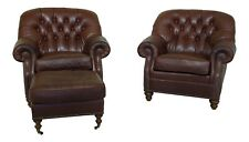 L32207EC: Pair WESLEY HALL Tufted Leather Club Chairs w. Ottoman