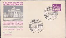 Germany - Berlin Occupation - 1963 - 3 Pf Purple Brandenburg Gate # 9N120A FDC