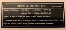 KAWASAKI GPZ900R GPZ900A NINJA ENGINE OIL AND OIL FILTER CAUTION WARNING DECAL