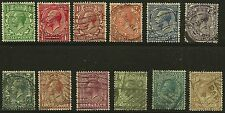 Great Britain Scott #159-67 & 170-72, Singles 1912-13 Fvf Used