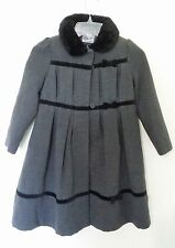 Rothschild Girl's Size 6 Gray Wool Look Dress Coat Faux Fur Trim Washable