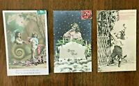 FRENCH Children, Lot of 3 antique Postcards, c.1920's, tinted & B&W, CUTE