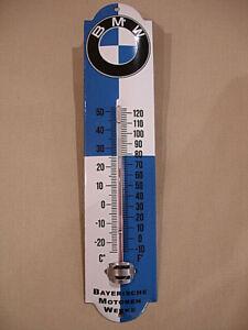 PLAQUE EMAILLEE thermometre BMW MOTO LOGO ENAMEL TIN SIGN thermometer