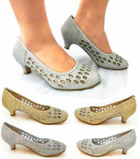 GIRLS AND YOUNG DIAMANTE PEARL WEDDING  EVENING BRIDAL LOW HEEL NETTING CUT OU