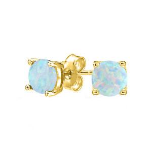 1.75 Cttw Blue Fire Opal  Stud Earrings 18K Yellow Gold Filled