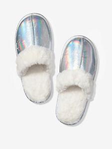 Victoria's Secret Pink Sleep Faux Fur Metallic Silver Slippers Slides NWT