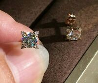 2Ct Round Cut Sparkle Moissanite Solitaire Stud Earrings 14k Rose Gold Finish