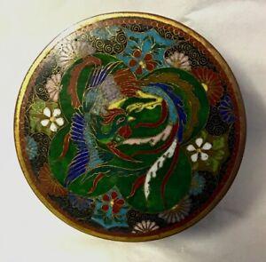 Beautiful 19th Century Cloisonné Round Lidded Box, Bird of Paradise Decoration