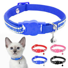Rhinestones Breakaway Cat Collar Soft Suede Pet Puppy Quick Release Buckle XS-S