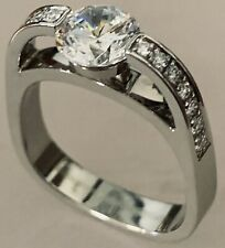 with Cz Center by Jfa 18K White Gold Engagement Ring