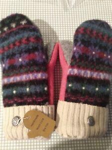 Recycled Wool Mittens Fleece Lined Handmade Warm CuffsNew