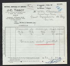 """PARIS (I°) MATERIEL AGRICOLE & HORTICOLE """"J.C. TISSOT"""" en 1950"""