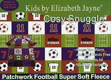 PATCHWORK FOOTBALL DESIGN  KIDS CUDDLE COSY SNUGGLE FLEECE BLANKET WITH SLEEVES