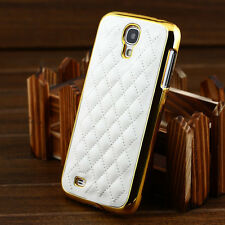 Luxury Designer Leather Gold Chrome Hard Case Cover For Samsung Galaxy S4 I9500