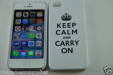 White Keep Calm and Carry On KCCO Hard Plastic Full Back Case for iPhone 5 5S