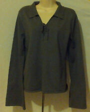 WOMANS SWEATER,LT WT,LONG SLEEVE,GRAY W/TIE AT NECK,SIZEXL,GREAT!!
