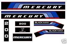 MERCURY MARINE 200 hp V6 DECALS, MERC BLACK MAX 150