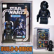 Star Wars Tie Fighter Pilot custom MINIFIGURE w/ Display Case & lego stand 096 S