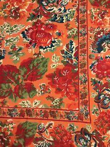 NEW April Cornell POMEGRANATE Orange 100% Cotton Border Tablecloth 54 x 54 India